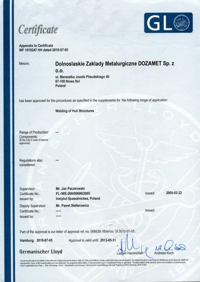 Dozamet certyfikaty for Bureau veritas polska